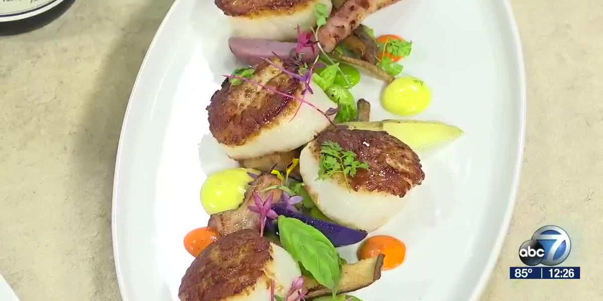 Seared Scallops & Pancetta From Fins At Sharky's