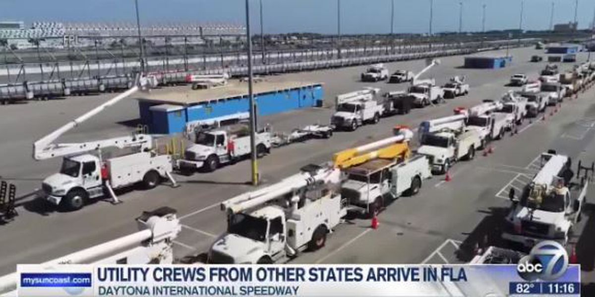 Utility crews from other states arrive in Florida to help in response to Hurricane Isaias