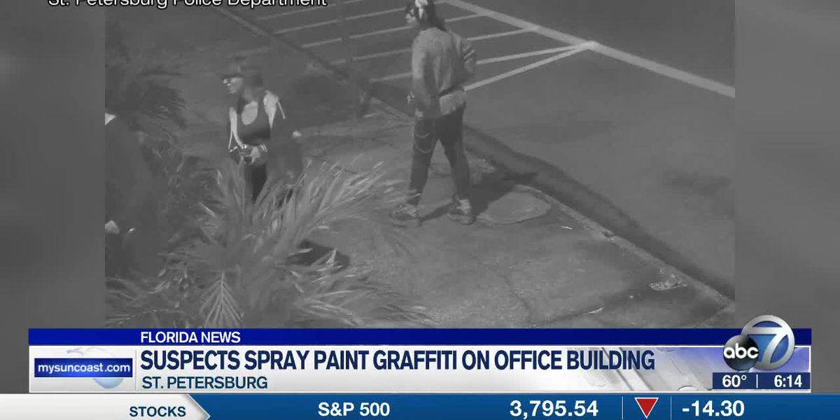 Suspects Spray Painting Graffiti on Office Building