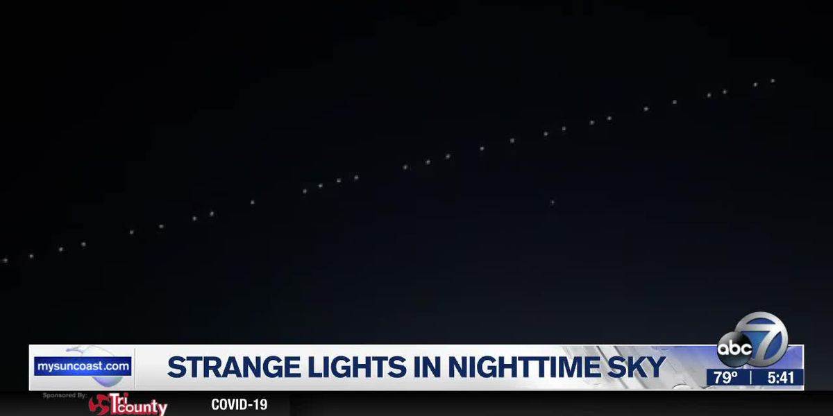 Strange lights in the nighttime sky happens to be the SpaceX Starlink satellite 'train'