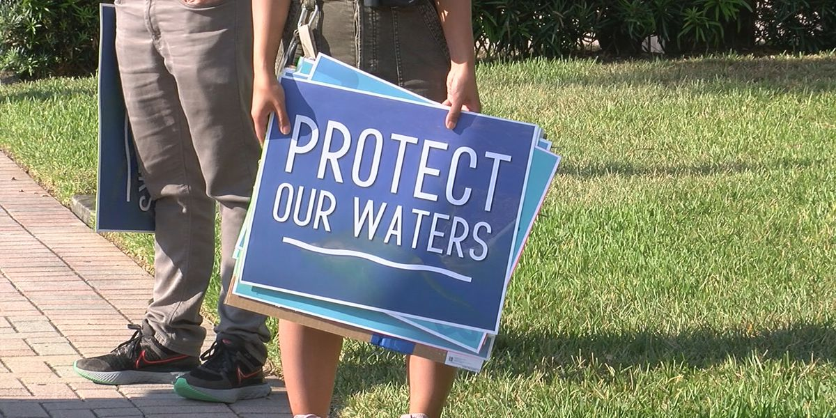 Manatee County residents protest in downtown Bradenton over Piney Point decision