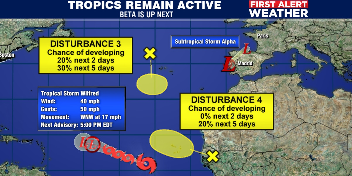 Tropical storm season heads into the Greek alphabet following Wilfred