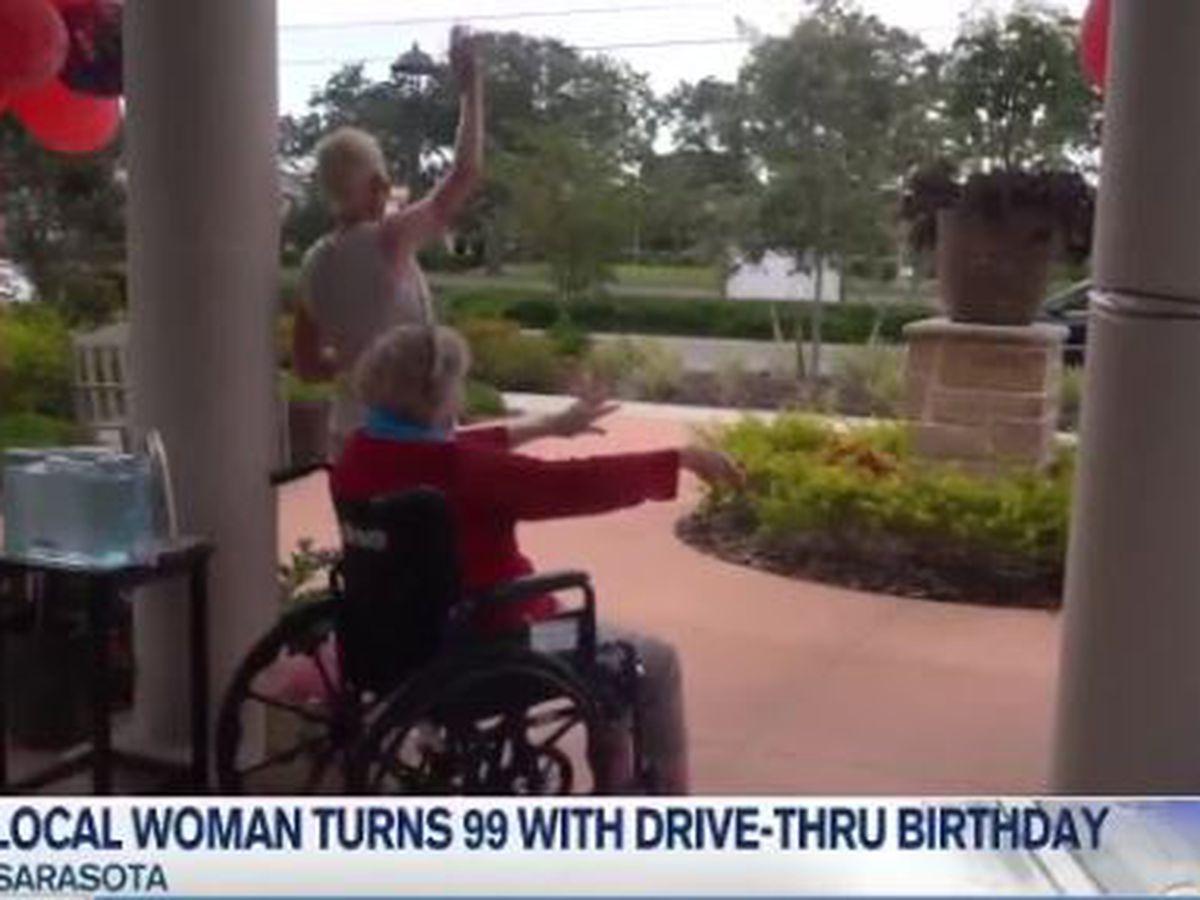 Local woman turns 99 with drive-thru birthday