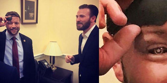 Congressman Dan Crenshaw shows off 'Captain America' glass eye to Captain America