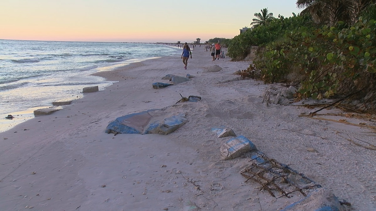 Concerns over concrete and steel on Lido Beach following erosion from Hurricane Michael