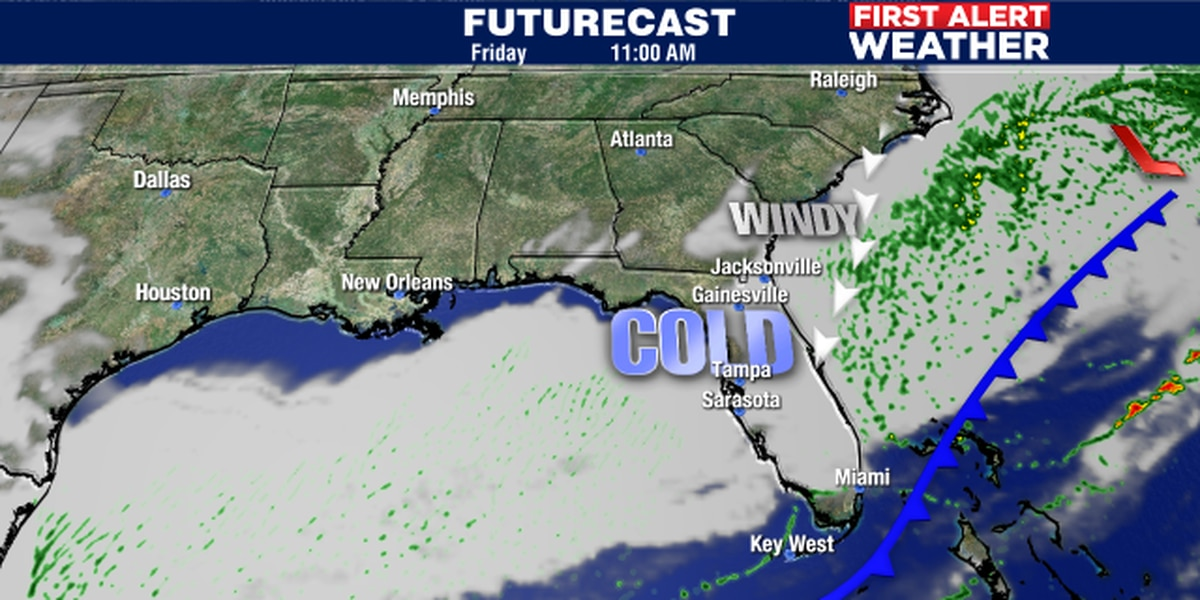 Friday's cold front to bring the cold but not much rain