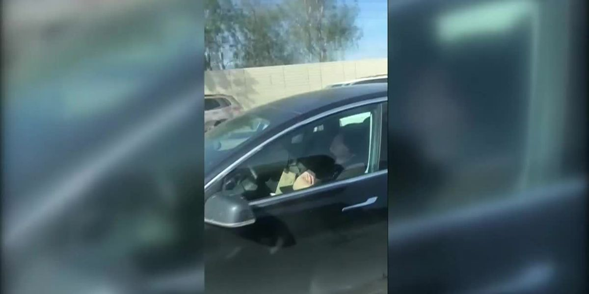 Driver asleep behind wheel of Tesla