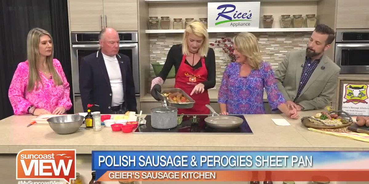 Polish Sausage and Perogies Sheet Pan Dinner with Sauerkraut by Geier's Sausage Kitchen | Suncoast View