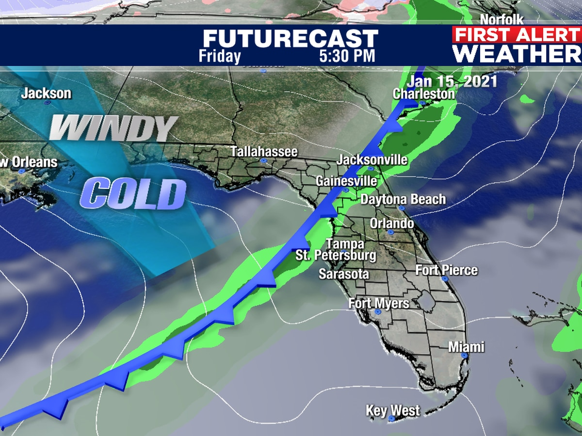 Cold front moves in Friday with some rain