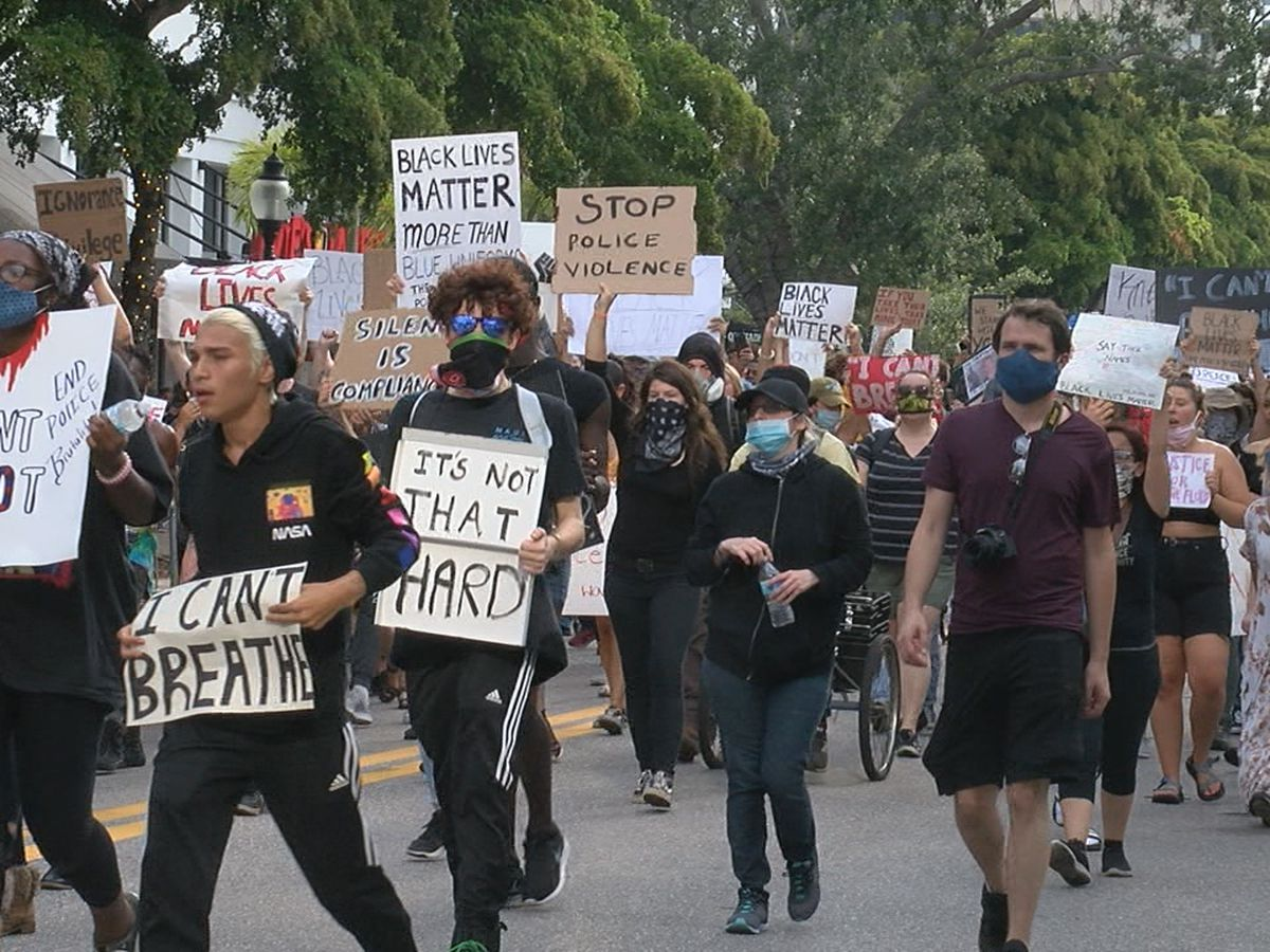 Protestors take to the streets of Sarasota over the death of George Floyd