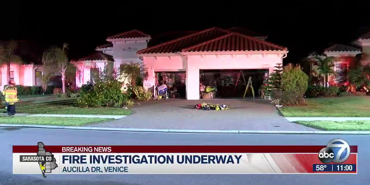 Fire sparks in kitchen area of Venice home