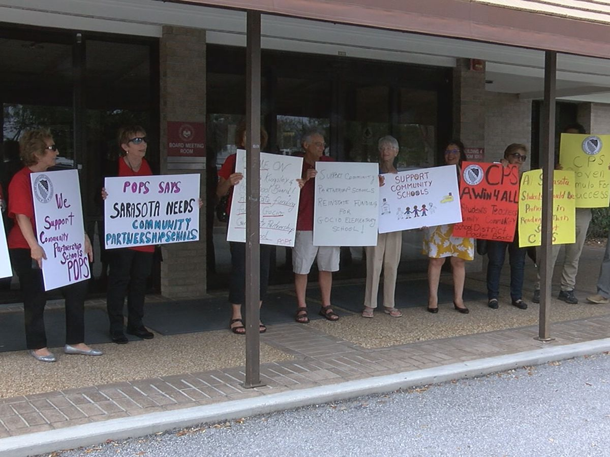 Protestors rallying for Community Partnership Schools ahead of Sarasota County School Board meeting