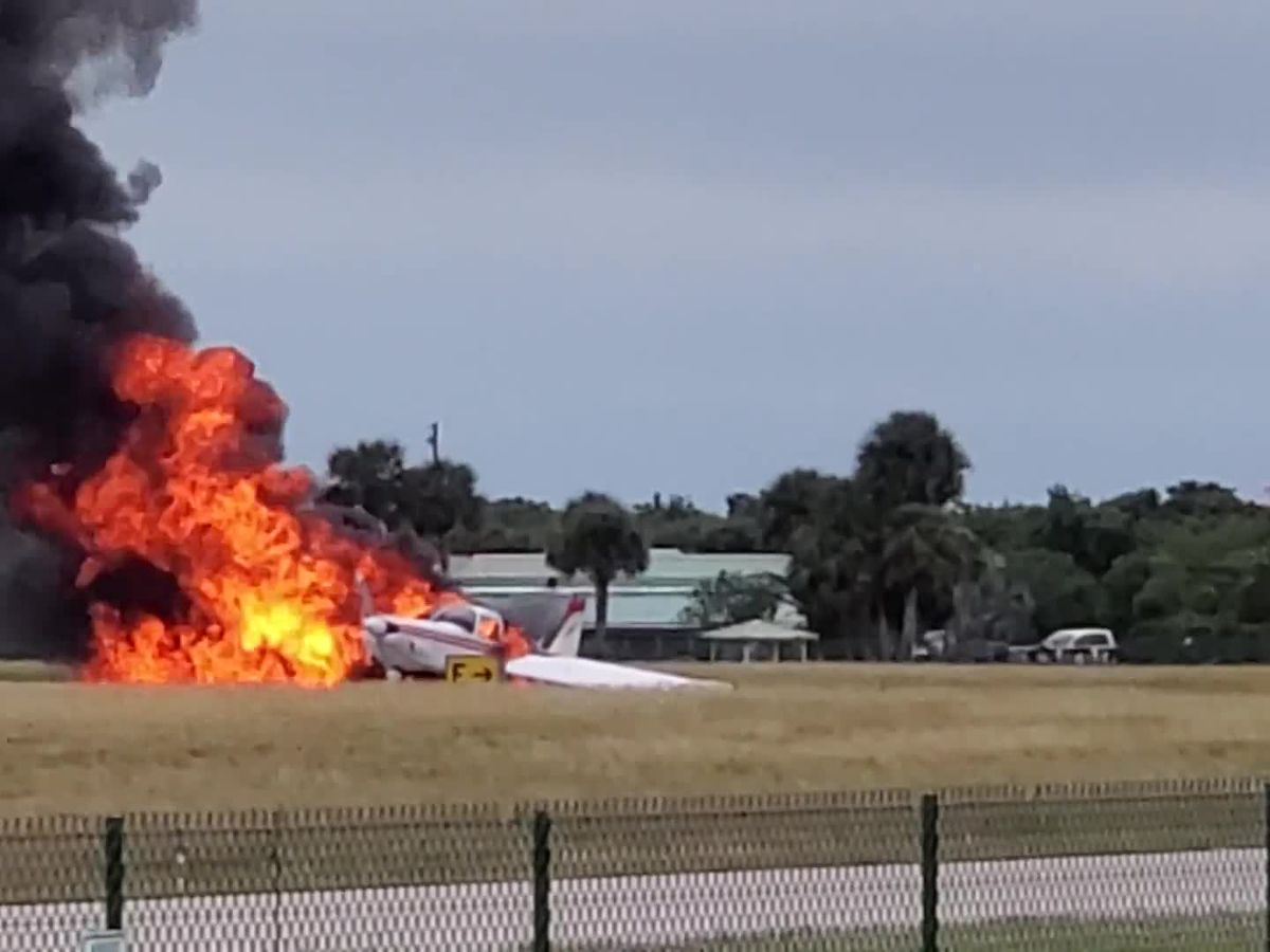 Small airplane catches fire while departing from Venice Airport