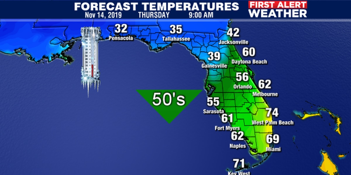 Gets your jackets and sweaters ready winter like weather coming to Suncoast