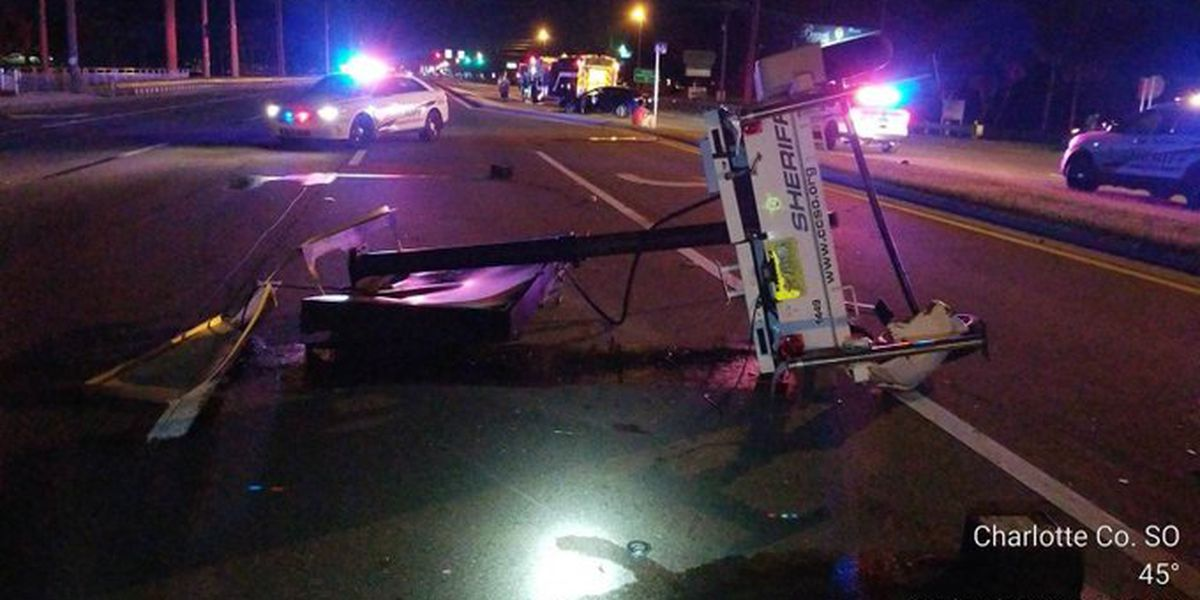 Alleged DUI driver crashes into sheriff's 'Drive Sober' sign