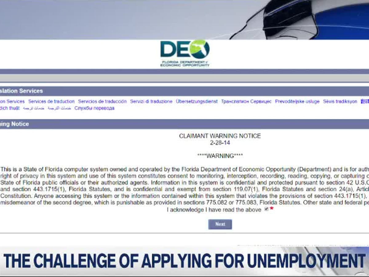 Many are having issues filing for unemployment due the technical problems on the Dept. of Economic Opportunities website