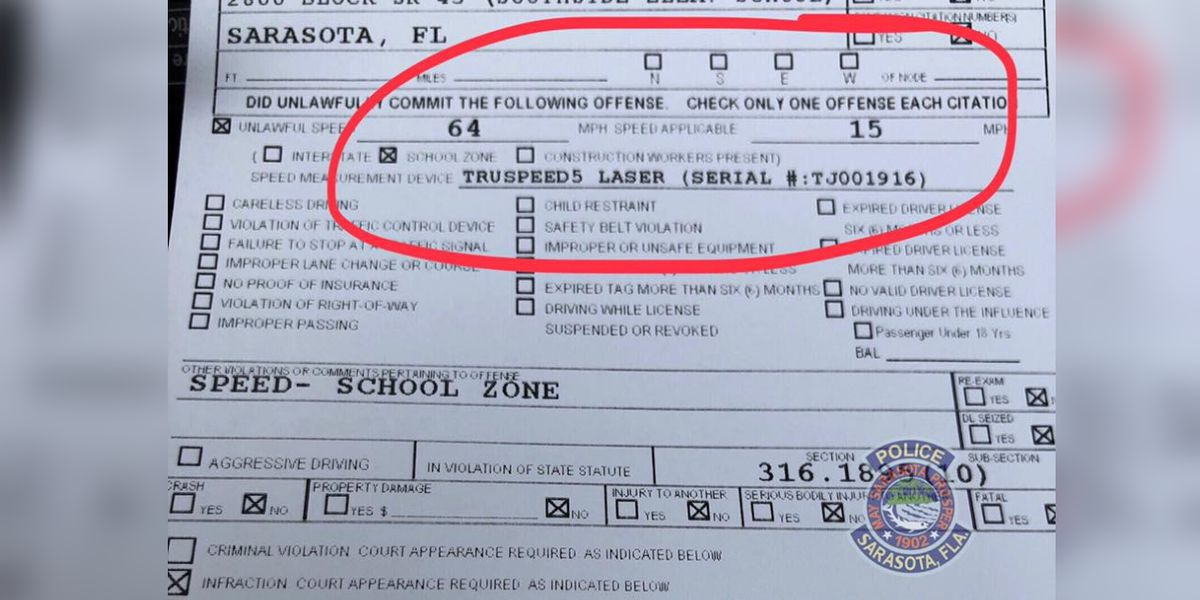 Driver caught going 4 times over speed limit in school zone in Sarasota