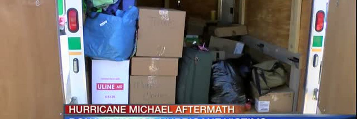 Video: Donations continue to come in to the Manatee County Sheriff's Office for Hurricane Michael 5am October 18, 2018 - selection