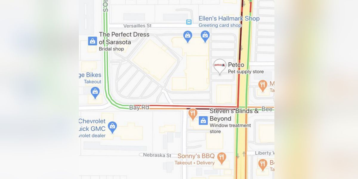 Bay Road currently closed in Sarasota due to a gas leak in the area