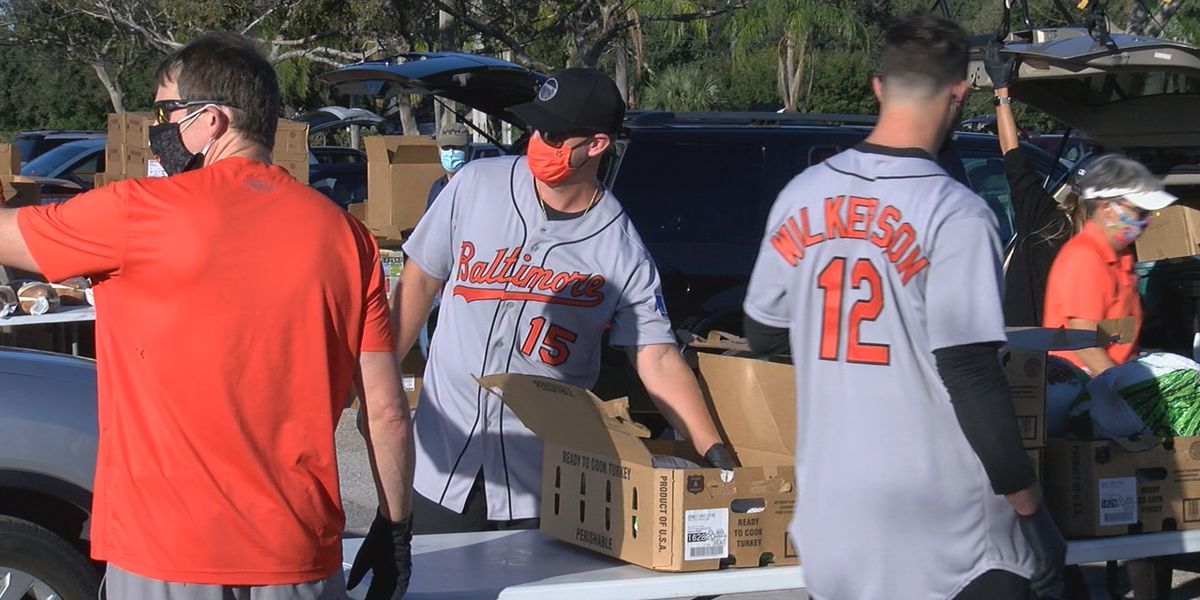 Baltimore Orioles team up with All Faiths Food Bank for Thanksgiving food and turkey distribution