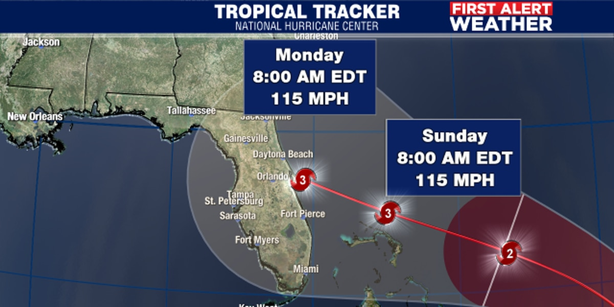 First Alert Weather: Dorian, now a Cat. 1 hurricane, expected to be a major Cat. 3 hurricane when approaching Florida