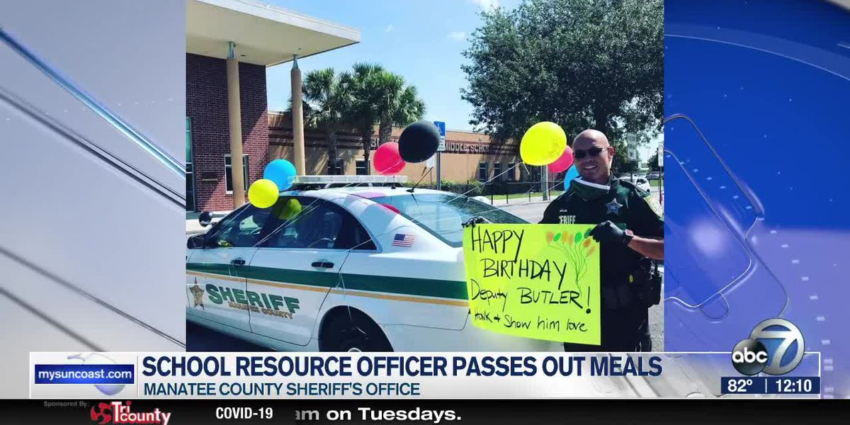Manatee County School Resource Officer passes out meals on his birthday