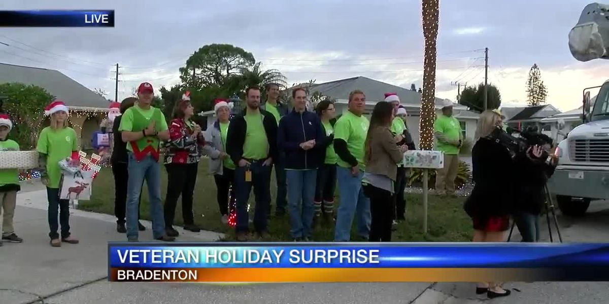 Florida Power and Light surprising veteran with decorated home