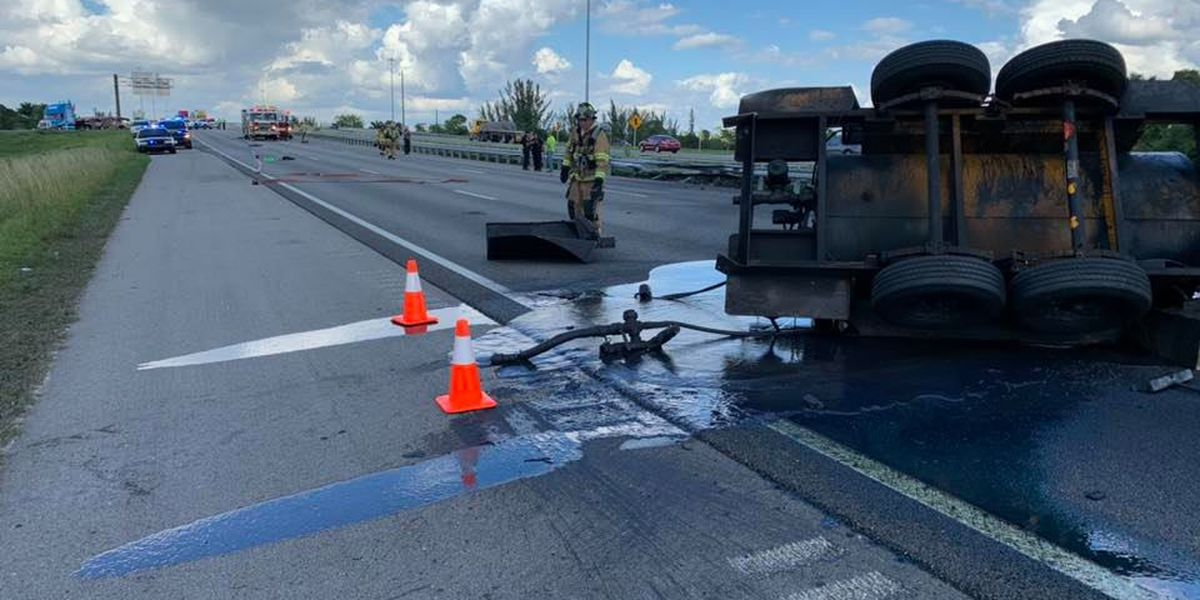 I-75 South closed near Punta Gorda after trailer overturns