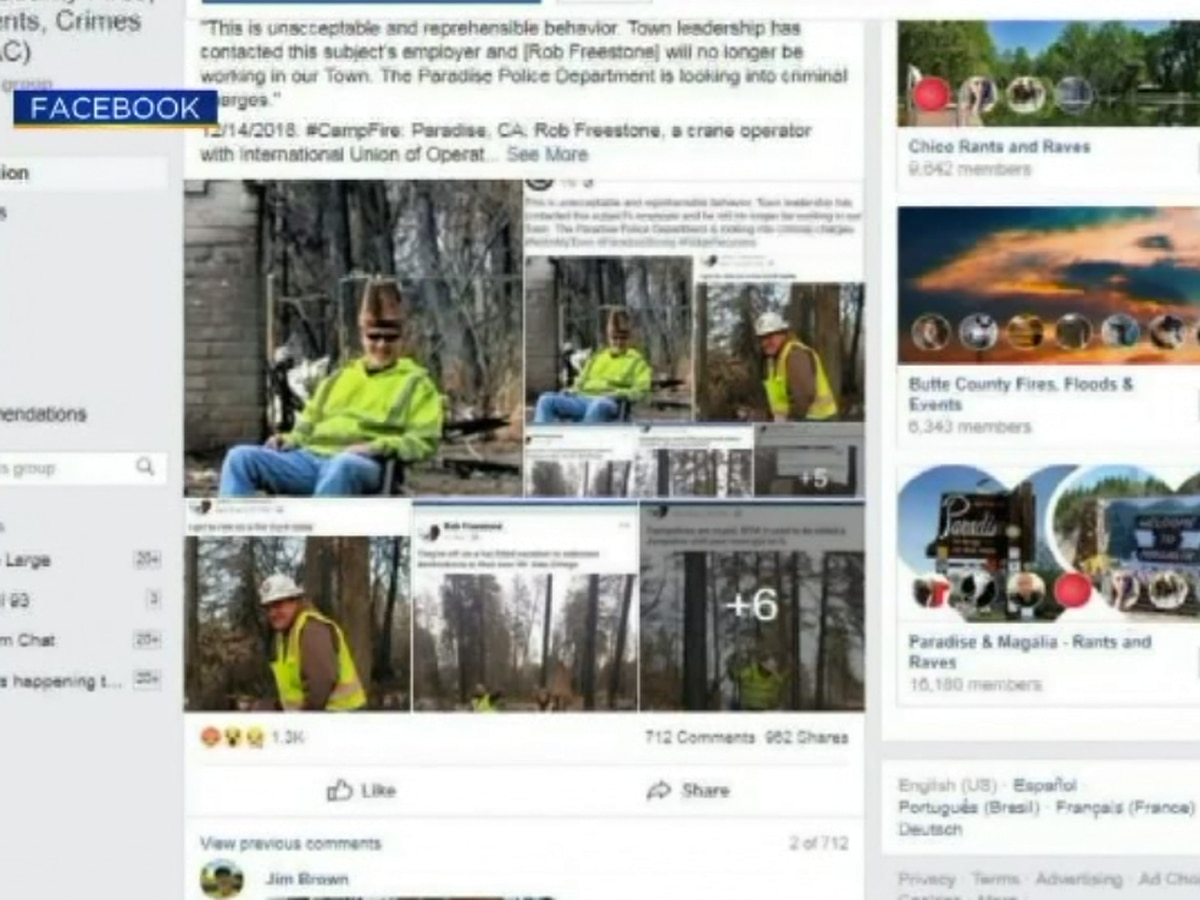 Camp Fire clean-up crew fired after posting offensive photos from burn zone on Facebook