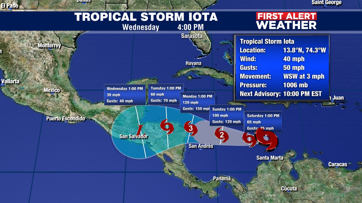 Tropical Storm Iota forms