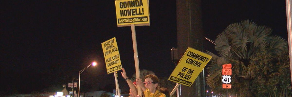Protestors show their support for Govinda Howell following alleged excessive force by Sarasota Police