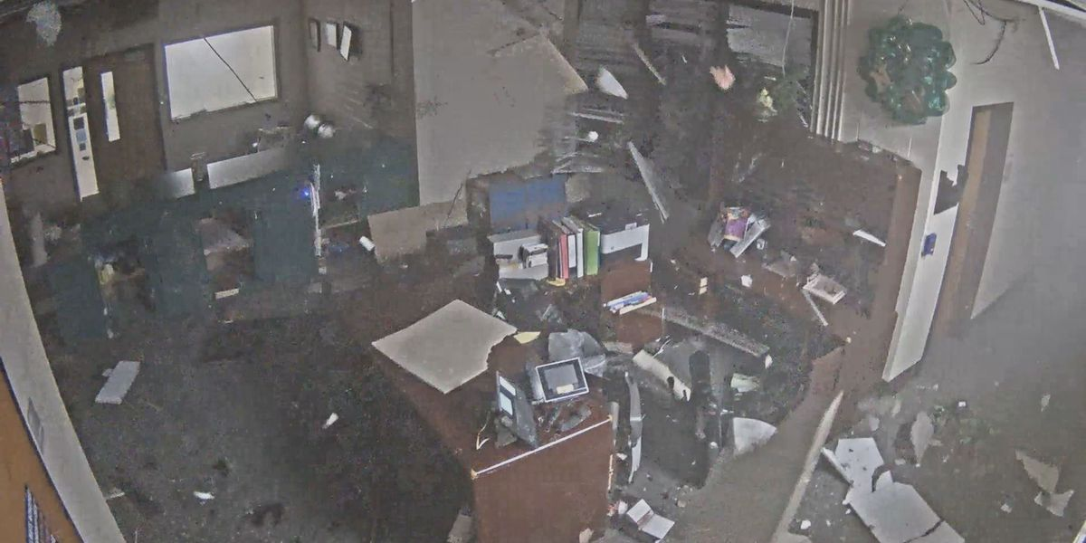 Surveillance video captures moment EF-2 tornado rips through S.C. high school
