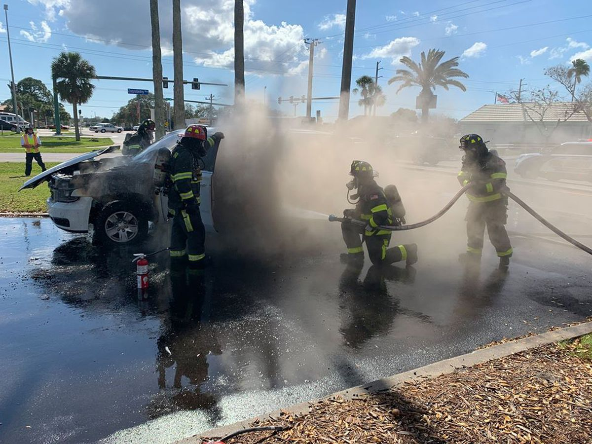 North Port Police officer and his K9 partner escape injury in car fire