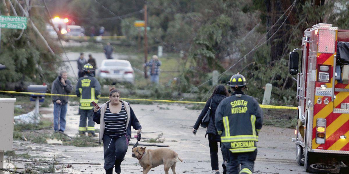 Crews assess damage from Washington state tornado