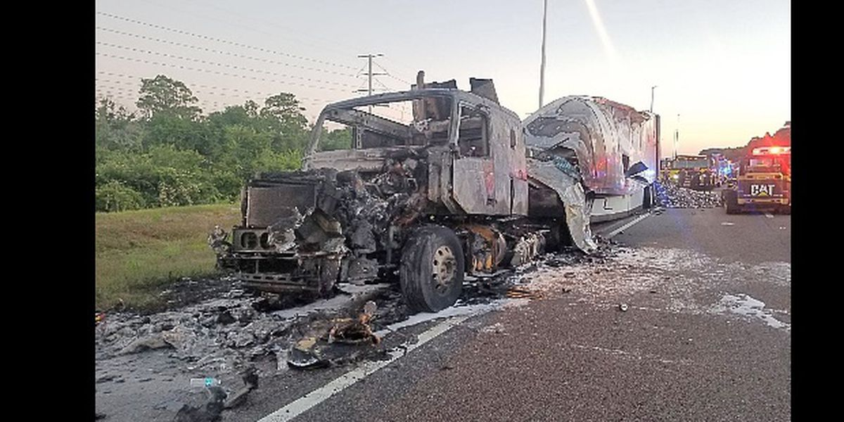 FHP: Crews remove 5,000 pounds of energy cans on I-75 after fire destroys tractor- trailer in Hillsborough County