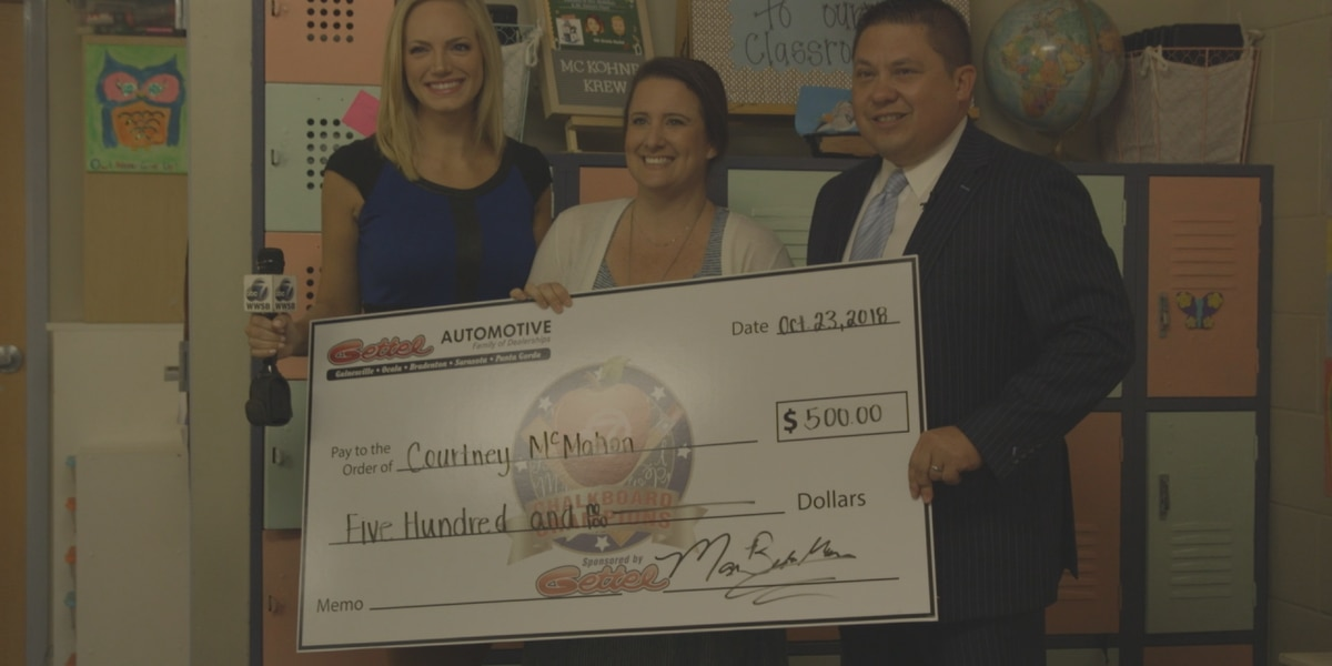 October Chalkboard Champion for Manatee County: Mrs. McMahon from Rowlett Academy
