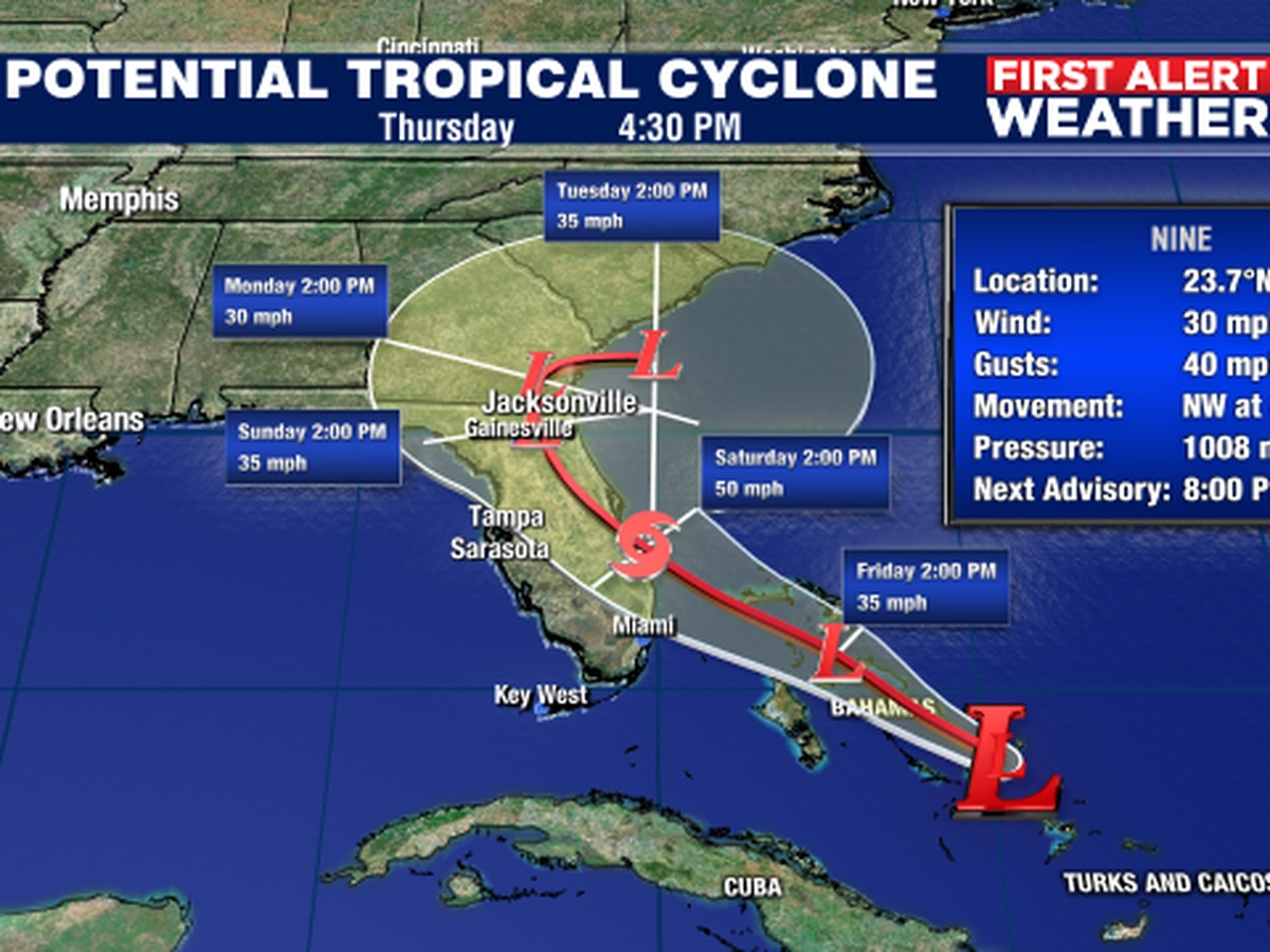 Abaco and Grand Bahama Island under tropical storm warnings as Potential Tropical Cyclone forms