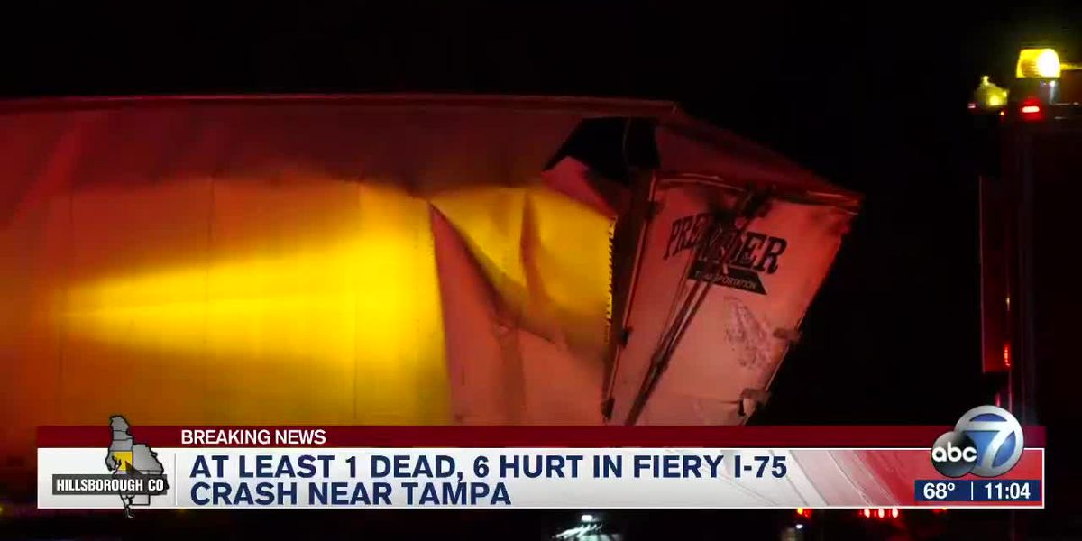 At Least 1 Dead, 6 Hurt in Fiery I-75 Crash Near Tampa
