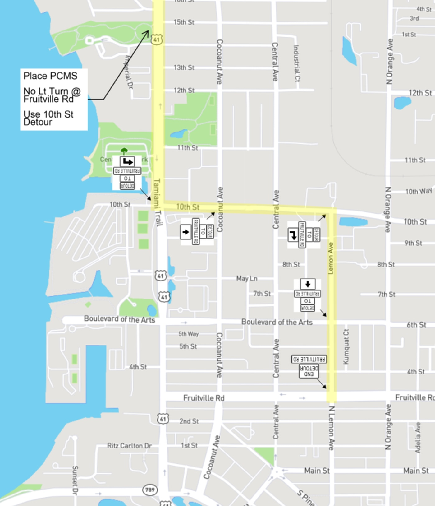 New Traffic Pattern Now In Effect On U S 41 In Downtown Sarasota