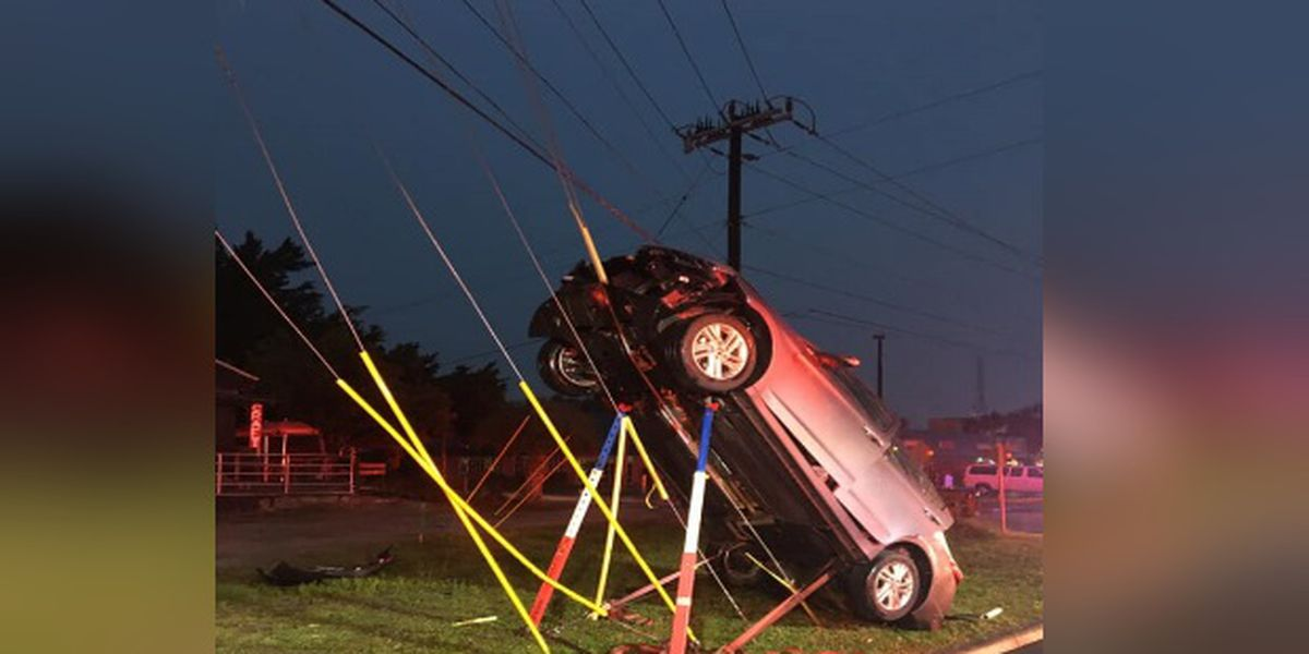 Drivers asked to avoid part of Cattlemen Road, car strikes power pole