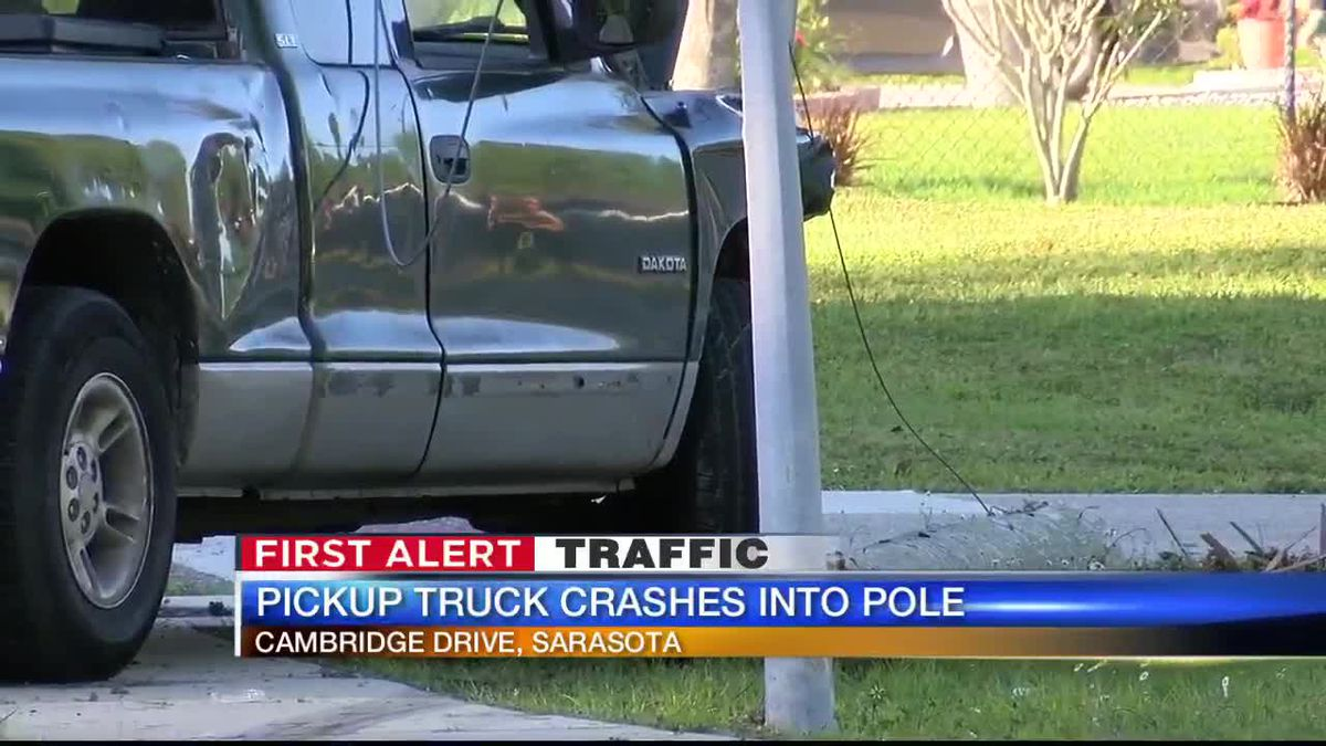 Pickup truck crashes into pole