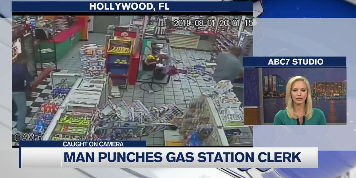 Police searching for two men responsible for punching a Florida gas station clerk