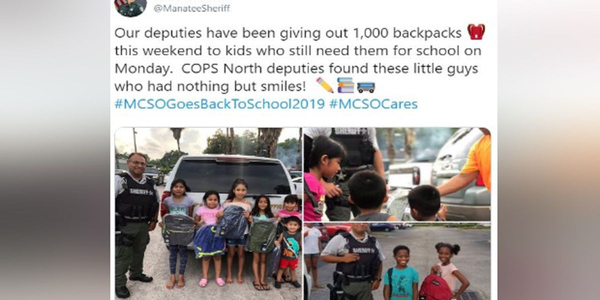 Manatee deputies give over 1,000 backpacks to students before school starts