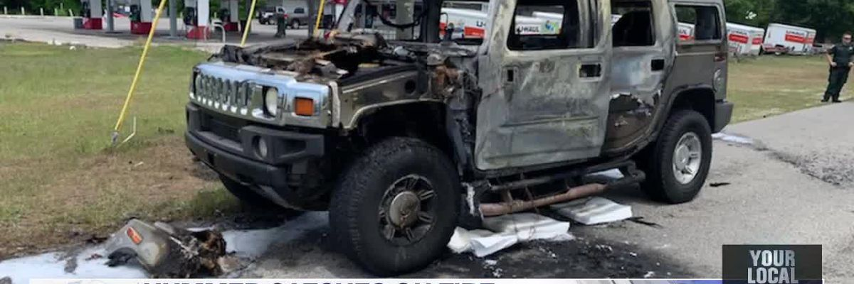 Hummer catches on fire