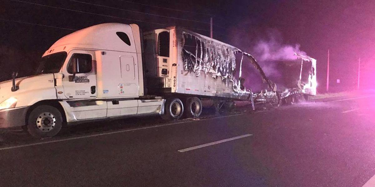 Semi trailer burns up on I-75 overnight