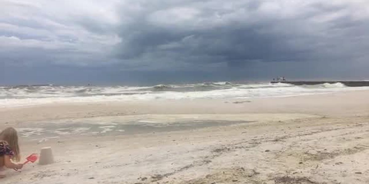 VIDEO: Surfers out at Cortez beach in Hurricane Michael