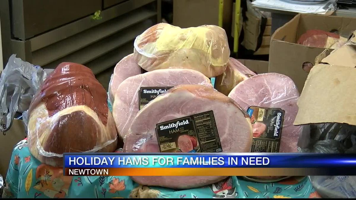 One organization in Newtown provides 125 hams and other items for families this holiday season