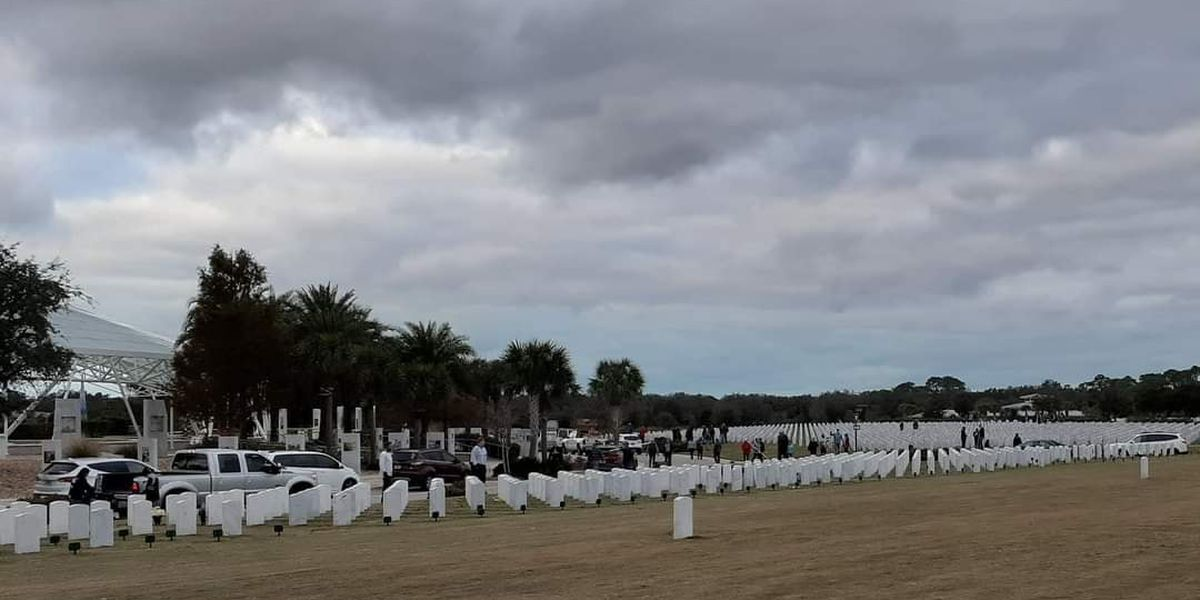 Crews work to clean up Sarasota National Cemetery over the weekend